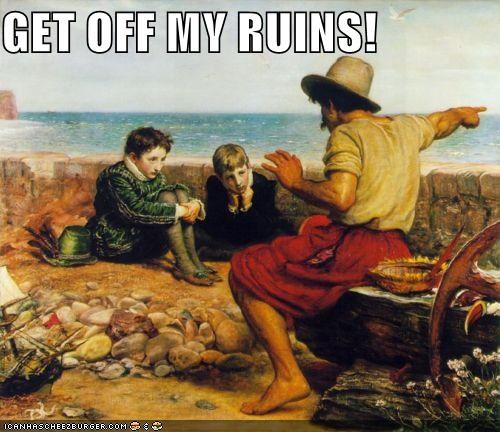 get off my lawn grumpy historic lols kids old men ruins - 5078221056