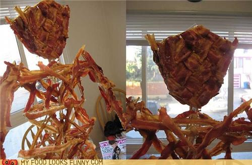 bacon,burning man,fried,model,statue