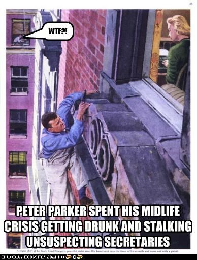 buildings,climbing,historic lols,midlife crisis,peter parker,secretaries,Spider-Man,wtf