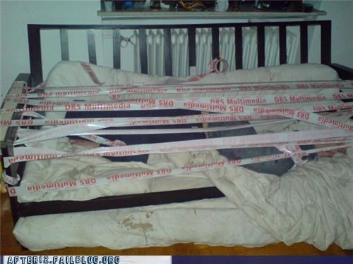 hidden,mattress,passed out,safety first,tape