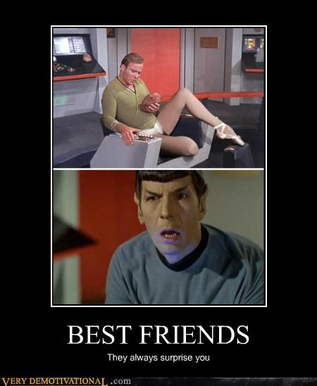 best friends,hilarious,james t kirk,Spock,Star Trek,surprise