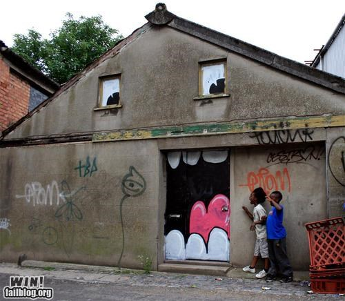 building,design,graffiti,hacked irl,mouth,nom nom nom