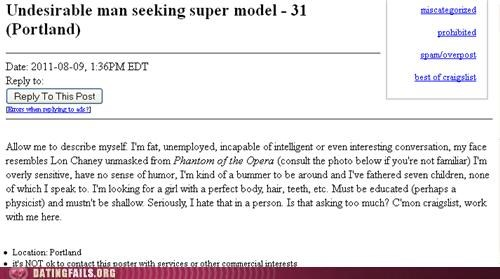 Screen grab of a very honest dating post on Craigslist that might be TOO honest.