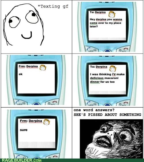 girlfriend,one word answers,paranoia,Rage Comics