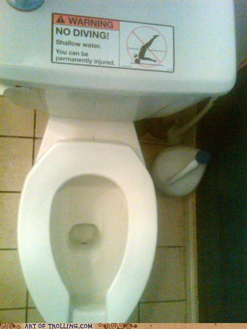 diving IRL shallow water sign sticker toilet - 5080798208