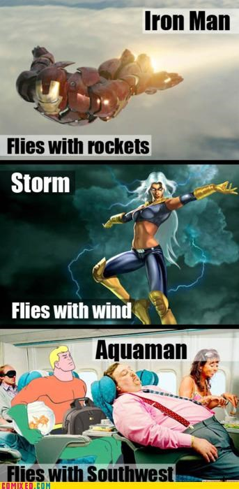 airline aquaman fly heroes iron man storm the internets