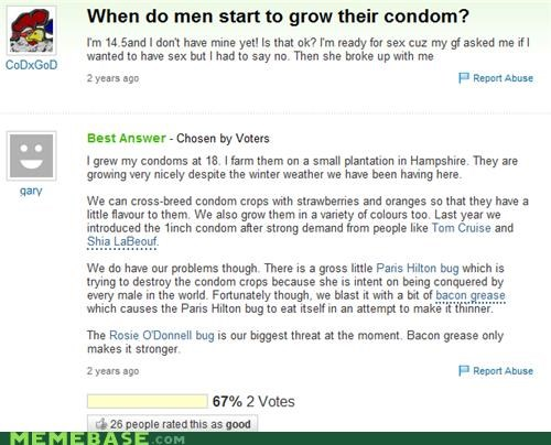 Funny picture of a screen grab of someone asking about condom farming on Yahoo Answers.
