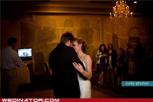 bride first dance funny wedding photos groom Hall of Fame skype wedding - 5081101056