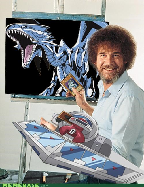 blue eyes,bob ross,Memes,trap,white dragon,Yu Gi Oh