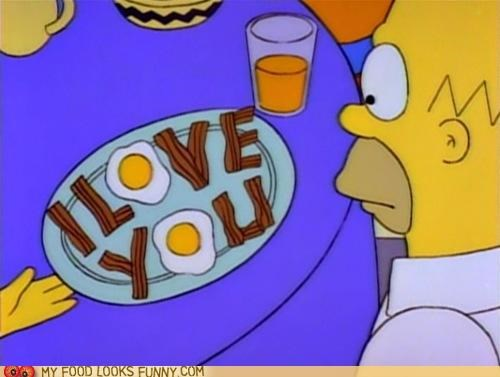 bacon breakfast cartoons eggs homer love simpsons