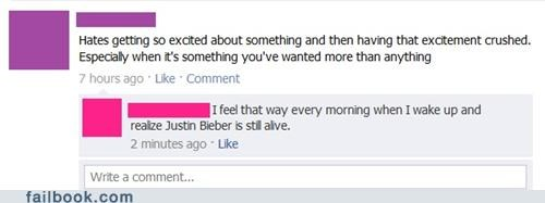 crushed justin bieber witty reply