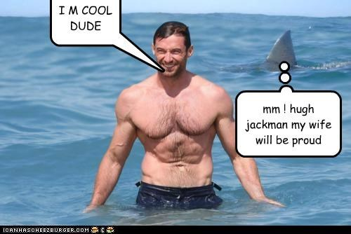 I M COOL DUDE mm ! hugh jackman my wife will be proud WHAT SHARK????