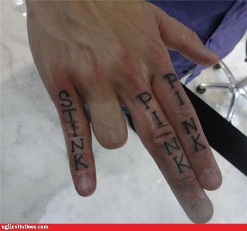 knuckle tats,sexual,The Shocker,words