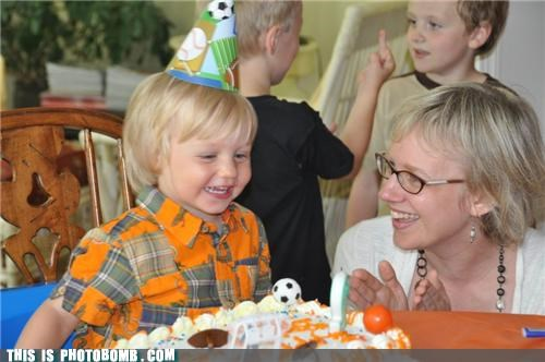 birthday party,blonde,cake,kids,Kids are Creepers Too,middle finger,the bird
