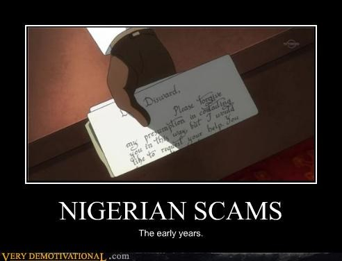 anime,early years,hilarious,letter,nigerian scam