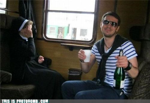 champagne,drink,embarrass,Jägerbombed,nun,sister,train