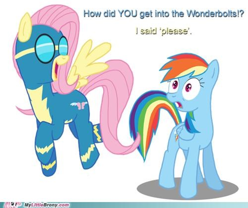 fluttershy manners please ponies rainbow dash wonderbolts yay - 5084454912