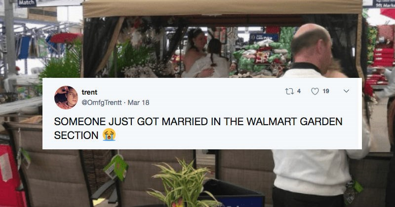 couple gets married in a walmart