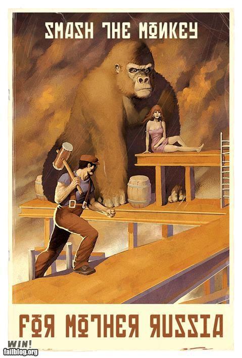 donkey kong,mario,nerdgasm,propaganda,Soviet Russia,super mario