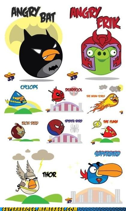 angry birds batman ironman Magneto Random Heroics Spider-Man superman the flash the human torch Thor x men - 5086746880