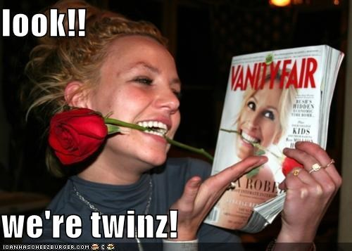 singers,britney spears,FAIL,julia roberts,look alikes,magazine cover,roflrazzi,roses,twins,ugly