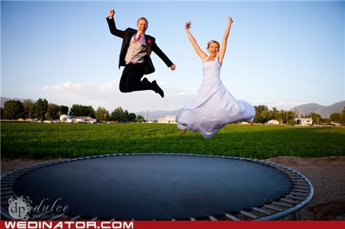 bride,groom,political pictures,pose,trampoline