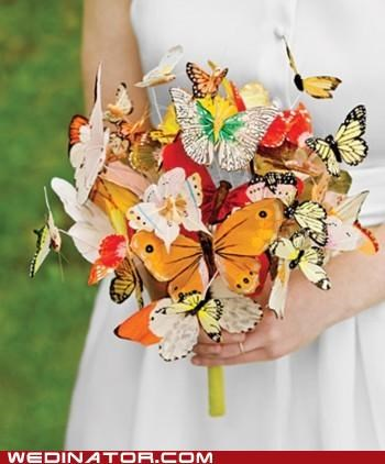 bouquet,butterflies,funny wedding photos