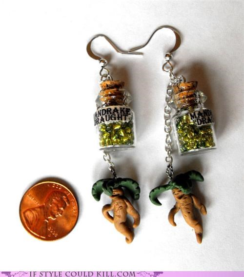 cool accessories,earrings,Harry Potter,mandrake