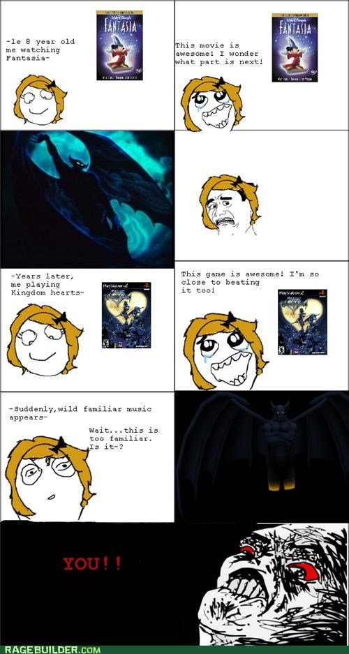 Fantasia,gargoyle,kingdom hearts,Rage Comics,scary