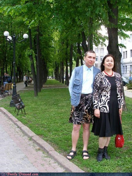 couples,cross dressing,leopard print,park,skirt