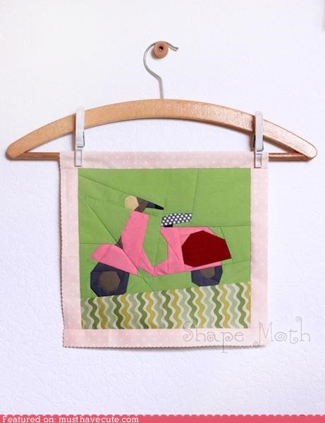 craft,DIY,pattern,pink,quilt,scooter,vespa
