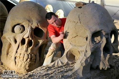 beach sand sand castle sand sculpture sculpture skull summer - 5091568128