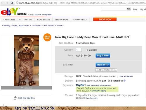 costume for sale pedobear shoppers beware teddy bear - 5091575552