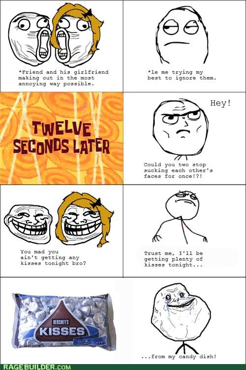 annoying,candy,couple,forever alone,kisses,Rage Comics,troll