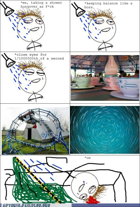 balance drunk fall Hall of Fame rage comic shower