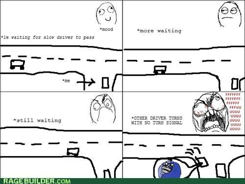 annoying blinker driving Rage Comics turn signal