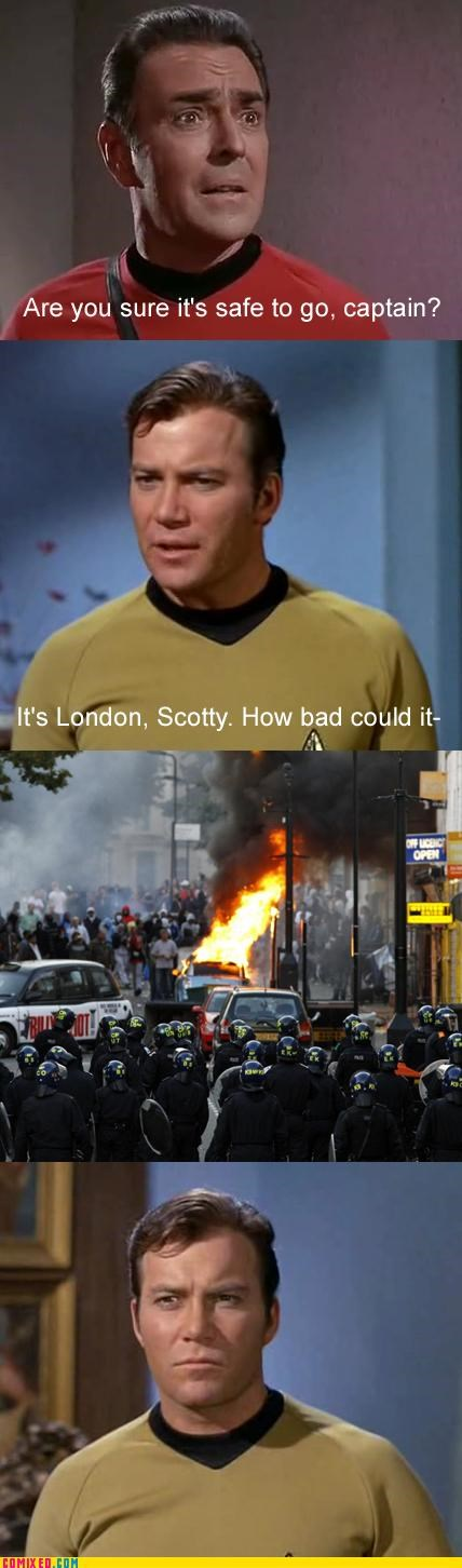 London news riot Star Trek UK