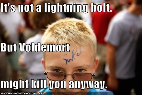 forehead,lightning bolt,murder,politicians,Pundit Kitchen,Sarah Palin,signature,voldemort