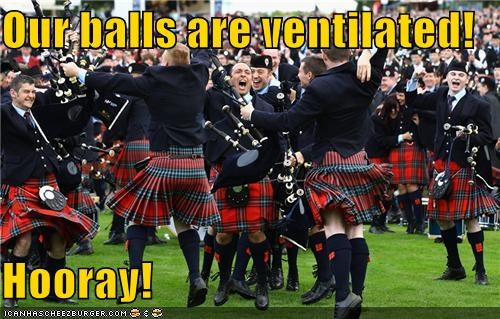 balls excited Hall of Fame hooray kilt men Pundit Kitchen scotland scottish ventilation yay