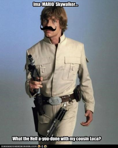actors,fake,mario,mario bros,Mark Hamill,mustache,roflrazzi,star wars
