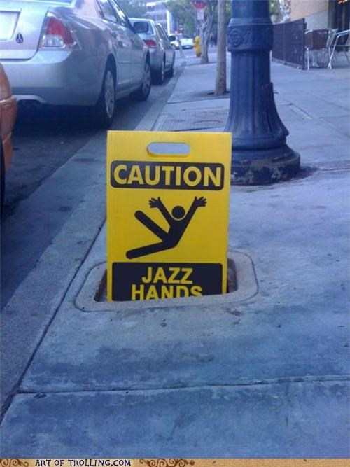 caution,IRL,jazz hands,sign