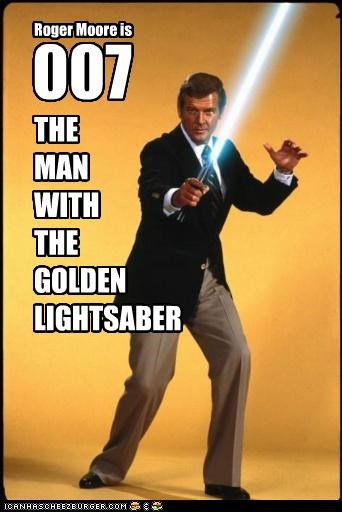 Roger Moore is 007 THE MAN WITH THE GOLDEN LIGHTSABER