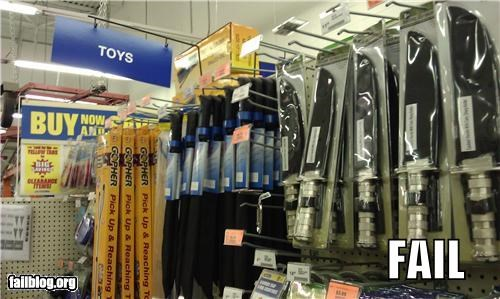 "Harbor Freight Toy fail Aisle with machetes and knives labeled ""Toys""."