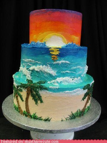 beach,cake,epicute,ocean,palm trees,sunset,tiers,Tropical