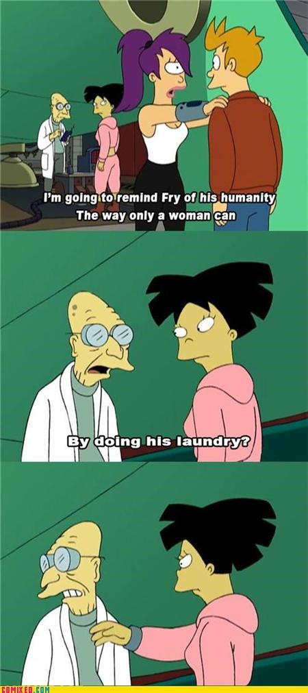 fry,futurama,laundry,TV,woman
