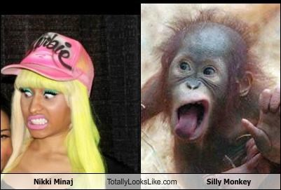 monkey,nicki minaj,pop music,pop singers,silly,silly face,weird faces