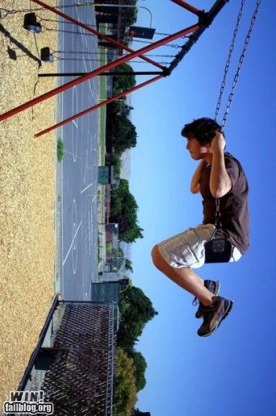 perspective,photography,playground,swing,swingset