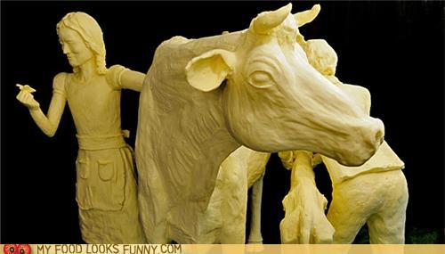 art,butter,carved,children,cow,sculpture