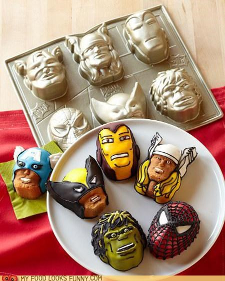 cake,captain america,iron man,marvel,molds,Spider-Man,super heroes,the hulk,Thor