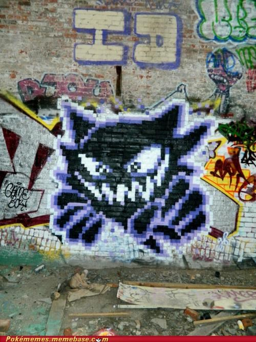 8 bit graffiti haunter IRL mural paint pixel - 5095528448